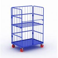 China Metal Steel Roll Container Roll Trolley Pneumatic Wheel 200kg Load Capacity on sale