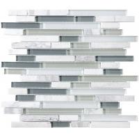 Quality Bliss Iceland Linear Glass And Marble Mosaic Tile , Recycled Bathroom Glass Tiles wholesale