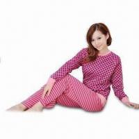 China Women's Sleepwear with Blouse and Pants, Comfortable, Customized Logo Printings are Accepted on sale