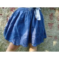 Quality Blue Embroidery Cotton Little Girls Denim Skirt , Eyelet Girls Summer Skirts With Bow wholesale