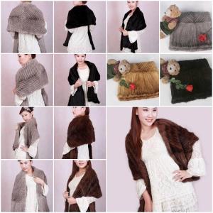China Mink Fur Poncho Fur Cape Fur Scarves Mink Fur Scarf Mink Fur Wraps Mink Fur Shawl 3 Colors on sale