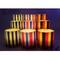 Quality Colorful Flameless Led Candles With Stripes Flat Top Candles ST0011 wholesale