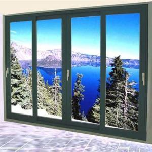 Quality Aluminum Double Sliding Glazed Doors / Tea Glass Double Slider Patio Doors wholesale