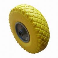 Quality 3.00 to 4 Inches PU Foam Wheel, Flat Free Tire, Used for Hand Trolley, Tool Cart and Machine wholesale