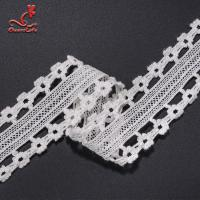 Quality Stretch Border Water Soluble Lace Trim / White Lace Ribbon 4.5cm Width wholesale