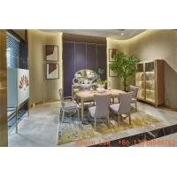 China Light luxury dining room table and chairs set with Buffet cabinets in maple wood for Villa house interior design fixture on sale