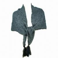 China Ladies Knitted Shawl with Further Pendant, Ideal for Winter Season on sale