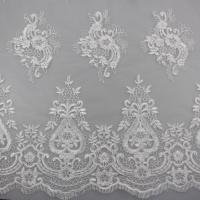 Quality 3D Eyelash Polyester Yarn On Nylon Mesh Corded Embroidery Lace Fabric For Bridal wholesale