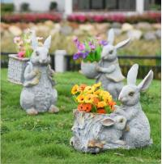 Quality Polyresin Garden Animals Flower Pots Decorative Rabbit garden planter wholesale