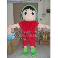 China green scarf boy mascot costume/customized fur person character mascot costume on sale