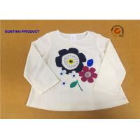 Quality Long Sleeve Childrens Plain White T Shirts Crew Neck Screen Print For Girls wholesale