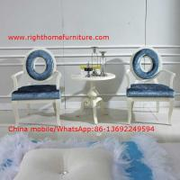 Quality Leisure fabric with white painting solid wood chair in Neoclassical design and cocktail end table wholesale