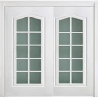 Quality White Double Lacquer Interior Doors with Glass Corridor Thickness 45mm/40mm wholesale