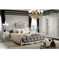 Quality Luxury Upholstery Fabric Headboard Padding with Solid Wood Bed in Ivory White Painting wholesale