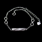 Quality Customized Silver Cubic Zirconia Bracelet Rhodium plating Bar Shape wholesale