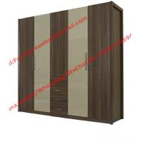 Cheap Bedroom wardrobe closet in MDF melamine with inner cloth racks and storage drawer for sale