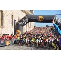 custom 26 feet black inflatable racing arch with removable banner for sport