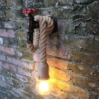 China Retro Industrial Wind Hemp Rope Wall Lamp Personality Iron Rust water pipe wall lamp (WH-VR-01) on sale