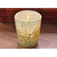 Quality Create modern glass candle holders green leaf pattern , 280ml Capacity wholesale