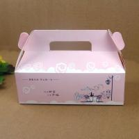 China Folding Pink Paper Cake Packaging Box With Handle , Custom Design Cake Box on sale