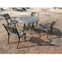 Quality Green Outdoor View Cast Iron Garden Furniture Set Weather Resistant For Restaurant wholesale