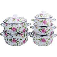 Quality 5PCS Enamel Casseroel 806d Full Flower Deco wholesale