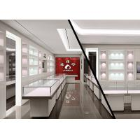 Cheap Matte White Color Jewellery Display Cabinets With LED Lighting Decoration for sale