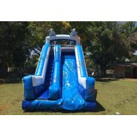 Quality Twin Dophin Blue Slide Tropical Inflatable Dry Slide / Inflatable Slide Rental wholesale