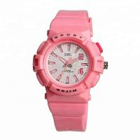 Quality Promotional Pink Plastic Watch One Year Warranty With Silicone Band wholesale