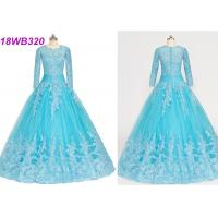 Quality Muslim Style Blue Multi Colored Wedding Gowns With Lace Long Sleeves Zipper Back wholesale