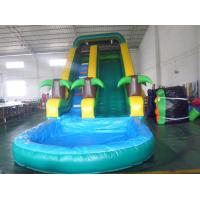 China Inflatable tropical tree slide with pool, water slide, wet slide on sale
