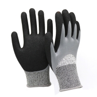 China ZM Level 5 Grade Cut Resistant Glove En 388 Grease Resistance Gloves Double Nitrile Glove Coating Oil And Water Proo on sale