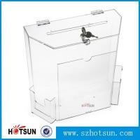 Cheap Innovative Wall Mount Donation Box with Lock and Key, Clear Acrylic Charity Box for sale