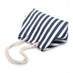 Quality Navy Stripe Canvas Pool Bag , Black Personalised Canvas Beach Bag Nautical wholesale