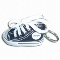China Shoe-shaped Keychain, Made of Cotton and Metal, Customized Bottom Colors are Accepted on sale