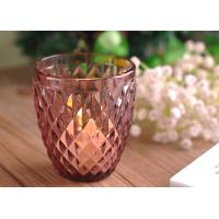 Quality Diamond Votive Handmade Glass Candle Holders , Glass Candle Jars Spraying Color Finish wholesale