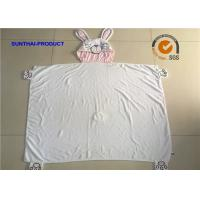 Quality 100% Cotton Terry Fabric Newborn Baby Blankets With Rabbit Applique Embroidery wholesale