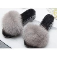 Quality Light Grey Genuine Fur Furry House Slippers Soft For Indoor / Ourdoor wholesale