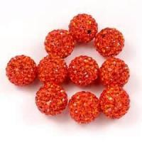 Quality Exquisite 30mm orange color Rhinestone Clay Pave Crystal / Glass Ball beads for decoration wholesale