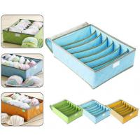 Quality 7Cell Bamboo Charcoal Storage Boxes Bra Underwear Closet Organizer Drawer Divider Green wholesale