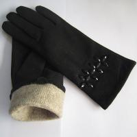 Quality best selling women's real goatskin leather winter suede gloves with wool lining wholesale