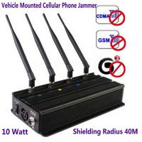 Quality Vehicle Mounted Desktop 4 Antenna Mobile Phone 3G GSM CDMA Jammer W/ 10 Watt & 40M Range wholesale