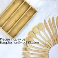 Quality 12-Piece Reusable Bamboo Flatware Set with Portable Storage Case,Chopping Board,Cheese Board,Pizza Board,Drawer Organzie wholesale