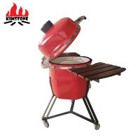 Quality Red Egg Shaped Kamado Ceramic Charcoal Grill , Ceramic Charcoal Barbecue wholesale