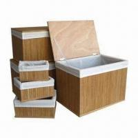Quality Bamboo Storage Trunk/Baskets with Set of 6 Sizes, White Fabric Liner Colors Available wholesale