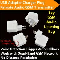 Quality Mini AC Adapter Charger US/EU Plug Hidden Spy GSM SIM Remote Audio Transmitter Listening Ear Bug W/ 5V USB Output wholesale