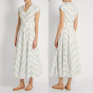 China Fashion New Women Blue White Maxi Dress Girls Wrap Dress Ladies Striped Causal Dress For Wholesale on sale