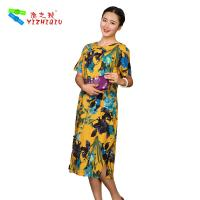 Quality Flower Printed Long Casual Summer Dresses With Short Sleeves 100% Cotton Material wholesale
