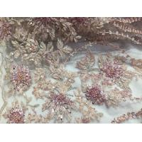 Quality 47 Inch Pink Embroidered Heavy Beaded Lace Fabric By The Yard With Scalloped Edge wholesale