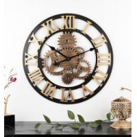 Quality 60cm Rustic Country Tuscan Style 3D decoration gear wooden vintage hot Selling retro clock Wall Clock wholesale